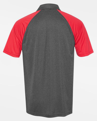 Diamond Pride Light-Performance Contrast Polo-Shirt, heather dunkelgrau-rot-DIAMOND PRIDE
