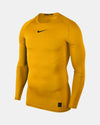 Nike Pro Compression Longsleeve Shirt, gelb-DIAMOND PRIDE