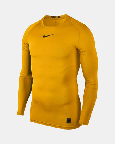 Nike Pro Compression Longsleeve Shirt 2018, gelb-DIAMOND PRIDE