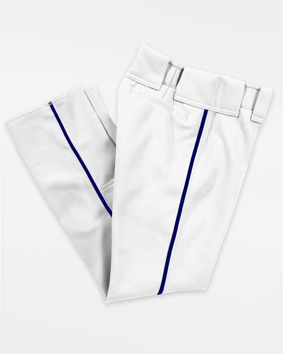 "Teamwork Piped Baseball Pant ""Open Bottom"", 14 oz, Weiss/Navy Blau-DIAMOND PRIDE"