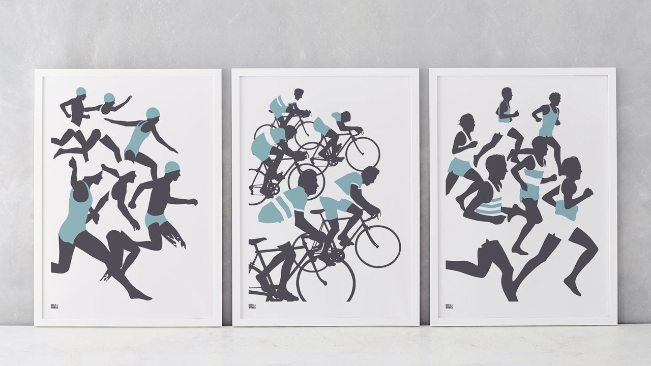 Triathlon 'Swimmers, Cyclists, Runners' Set of 3