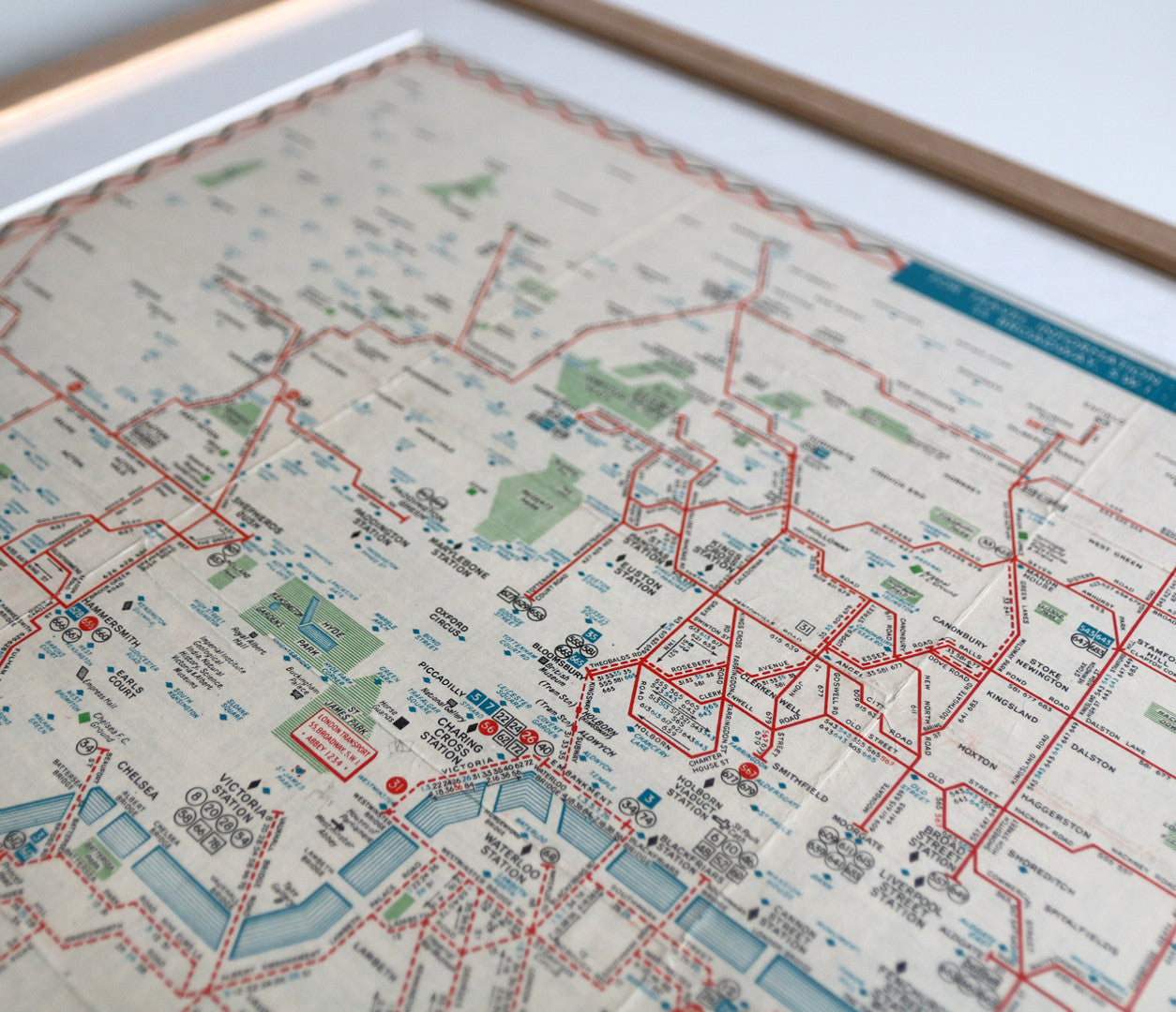 1947 Original London 'Trolleybus & Tram' Map with Oak Frame