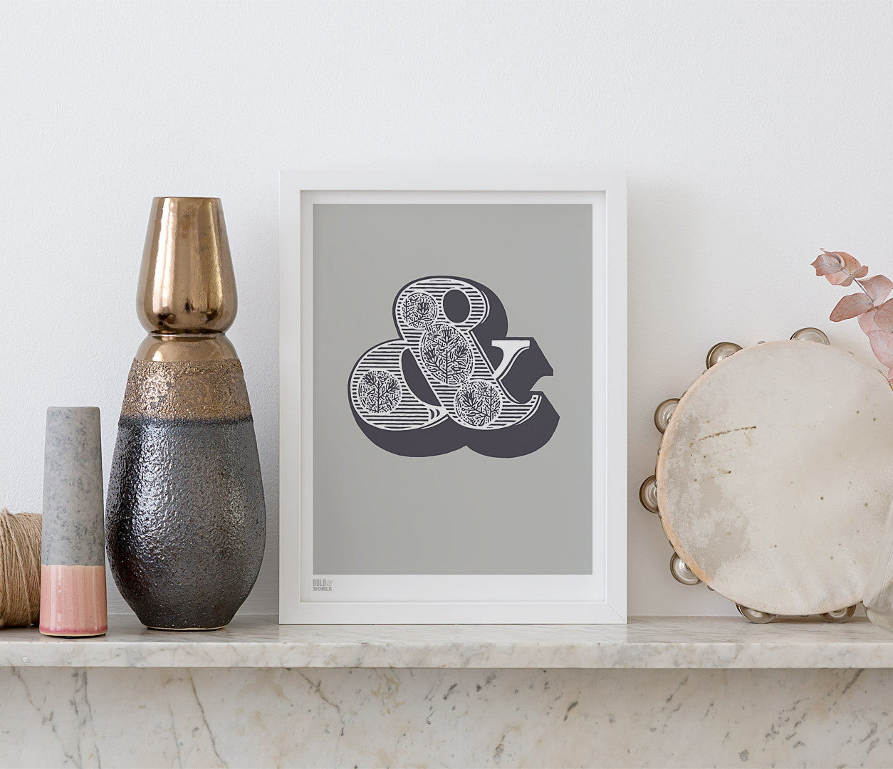 Pictures and Wall Art, Screen printed Ampersand in putty grey