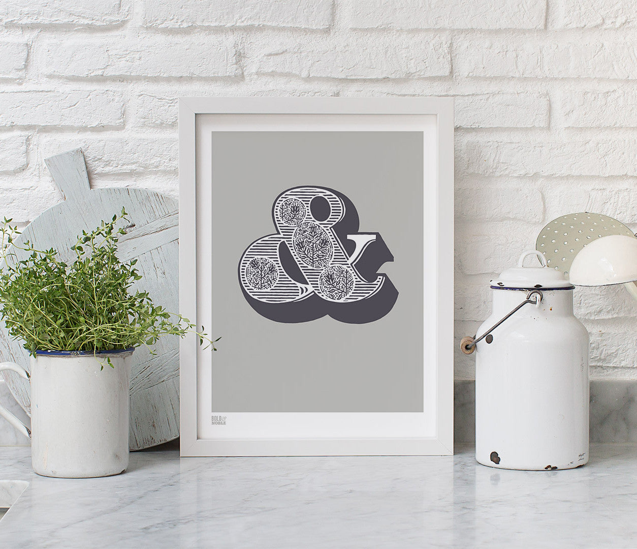 Wall art ideas, economical screen prints, illustrated ampersand in putty grey