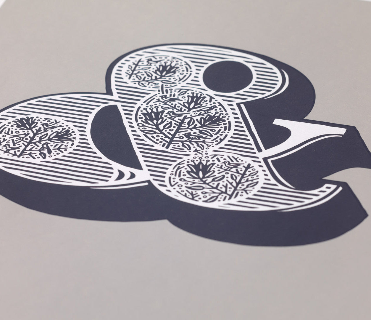 Close up of illustrated ampersand screen print wall art