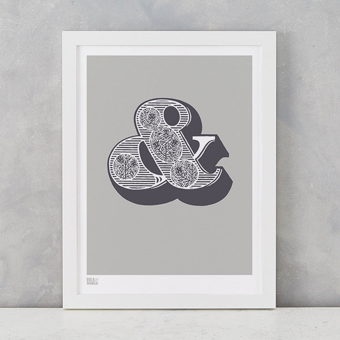 Illustrated Ampersand Screen Print in Putty and Slate Grey, delivered worldwide