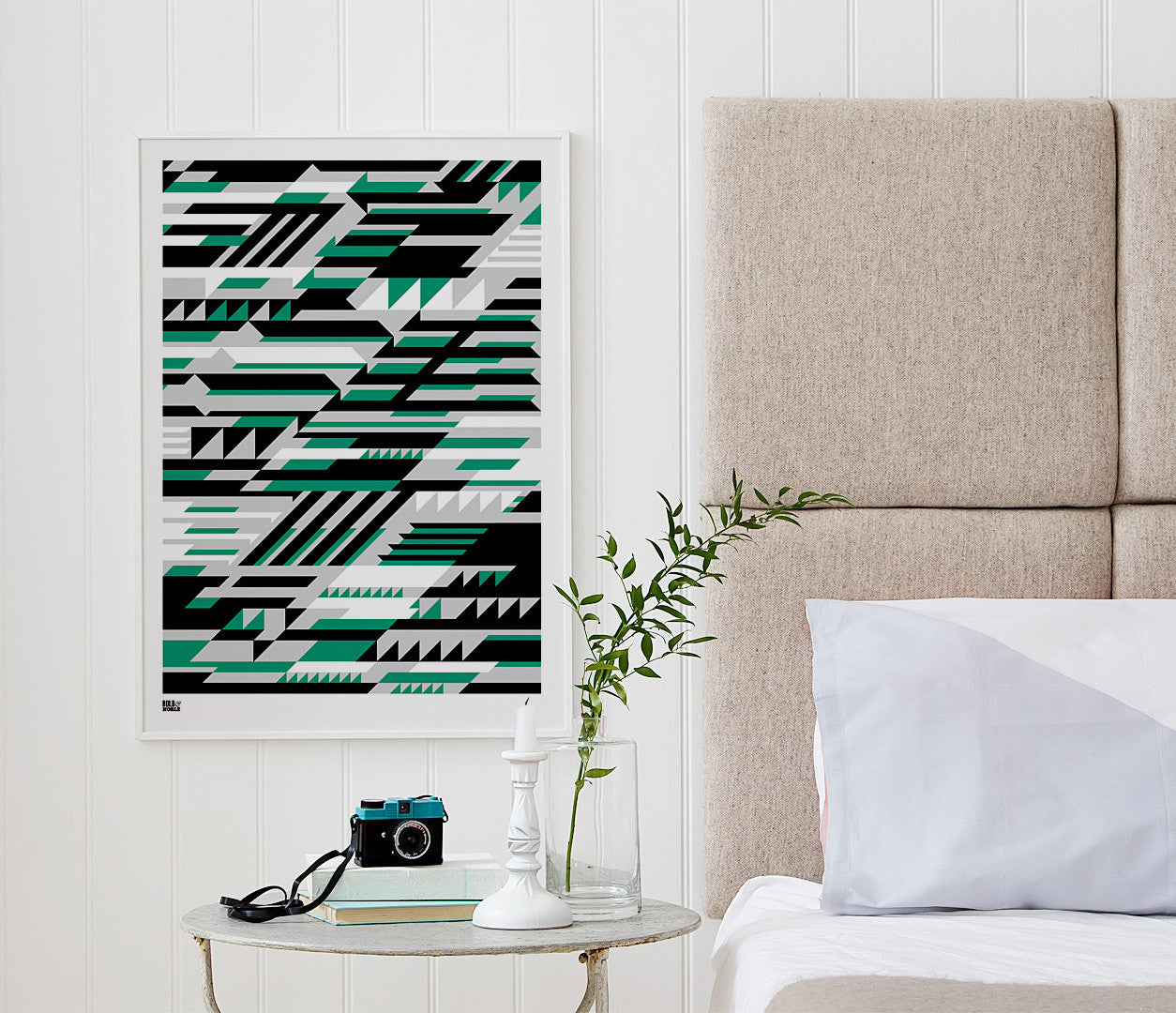 Pictures and Wall Art, Screen Printed Faster Geometric Screen Print in Green and Grey