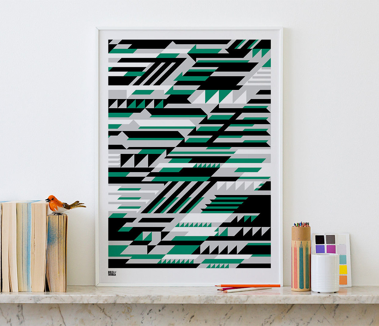 'Faster' Geometric Art Print in Emerald Green