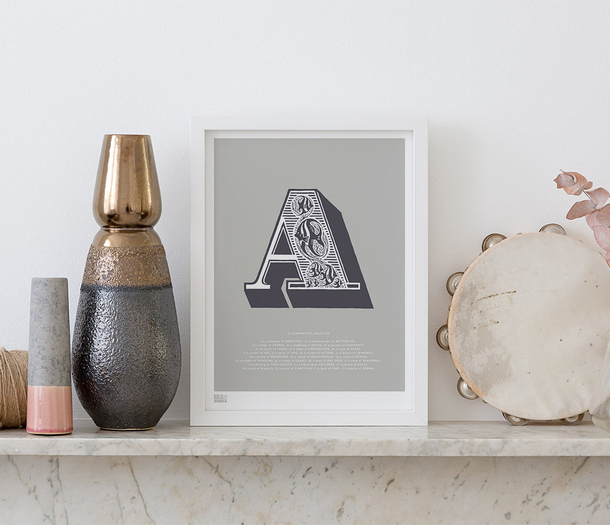 Wall Art Ideas: Economical Screen Prints, Illustrated Letter A printed in putty grey