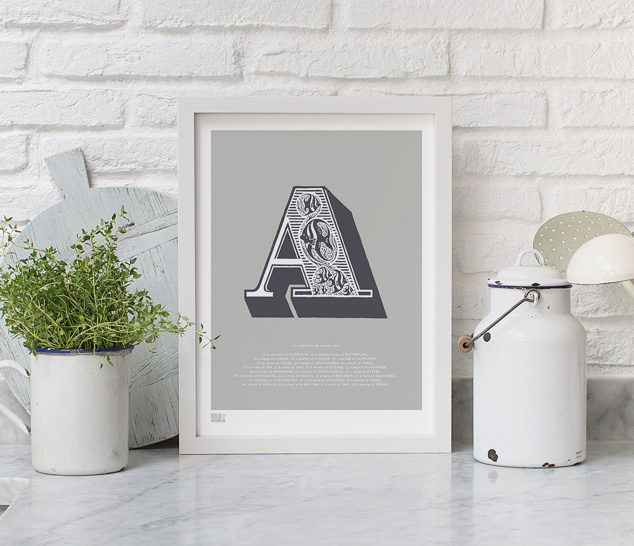 Pictures and Wall Art, Screen Printed Illustrated Letter A design in putty grey
