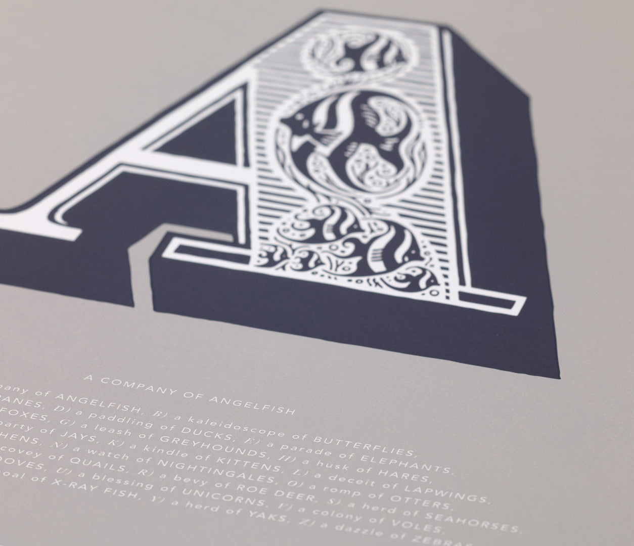 Close up of Illustrated Letter A in putty grey