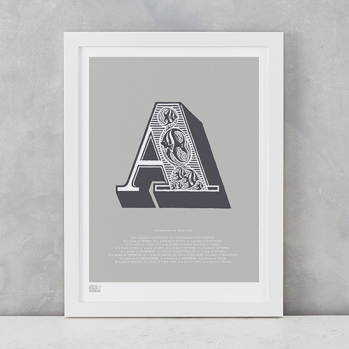 Illustrated Letter A in putty grey, screen printed on recycled card, deliver worldwide