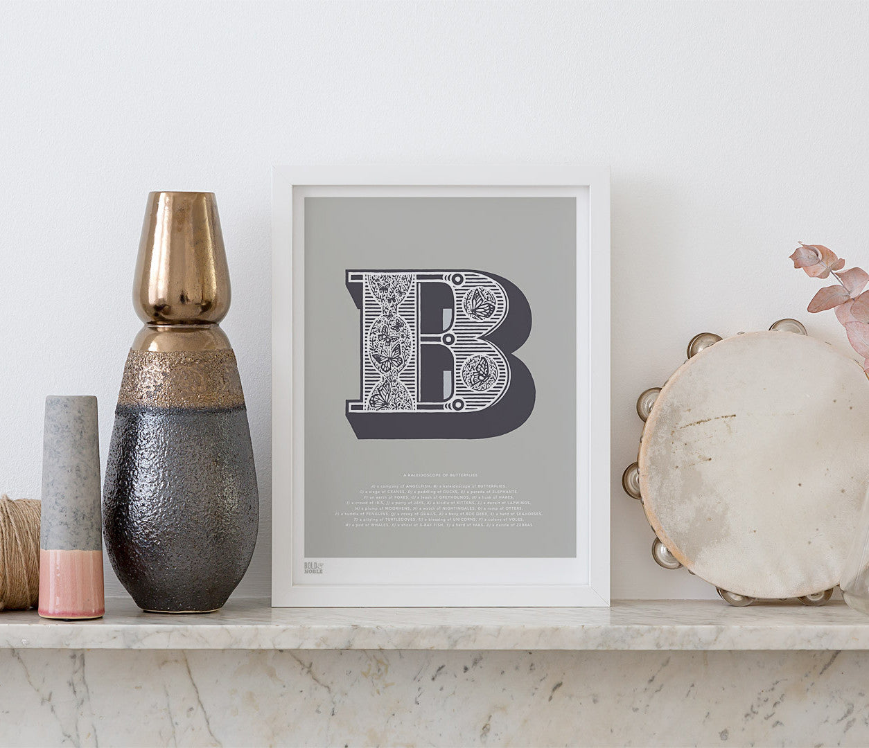 Wall Art Ideas: Economical Screen Prints, Illustrated Letter B printed in putty grey