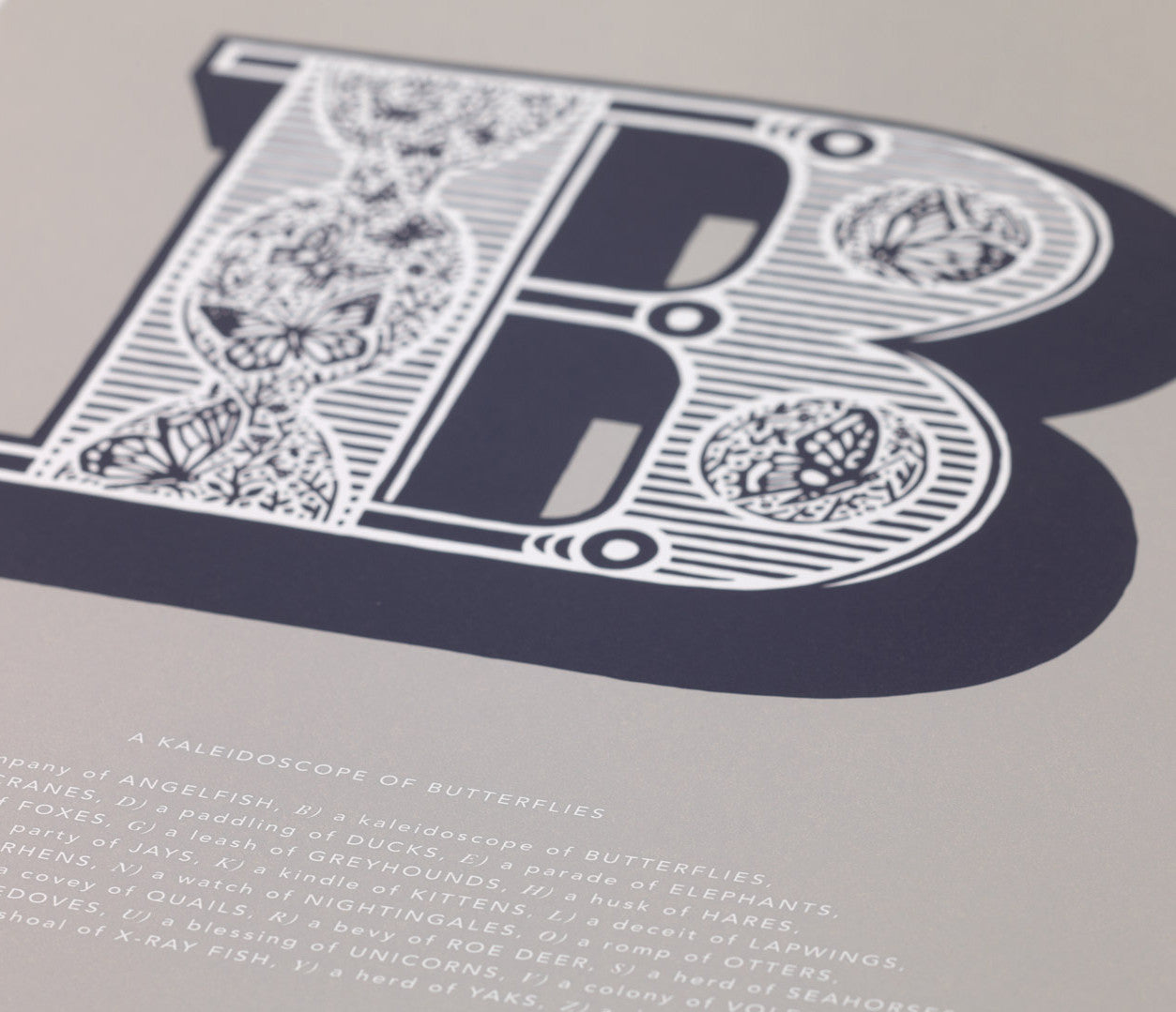 Close up of Illustrated Letter B in putty grey