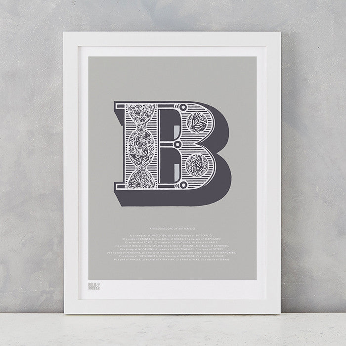 Illustrated Letter B in putty grey, screen printed on recycled card, deliver worldwide