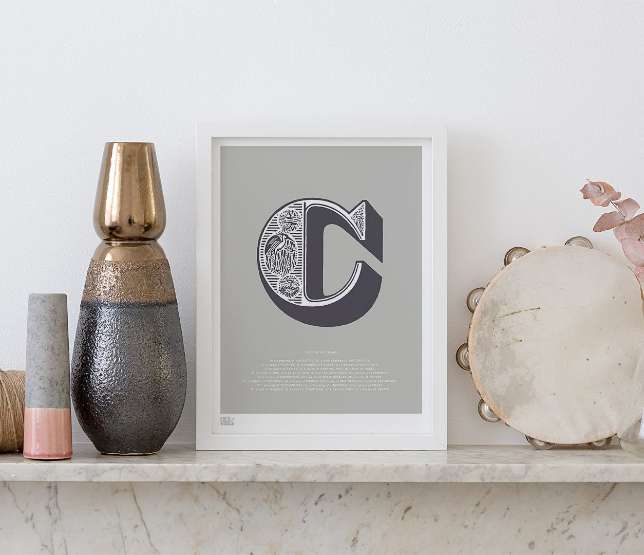 Pictures and Wall Art, Screen Printed Illustrated Letter C design in putty grey