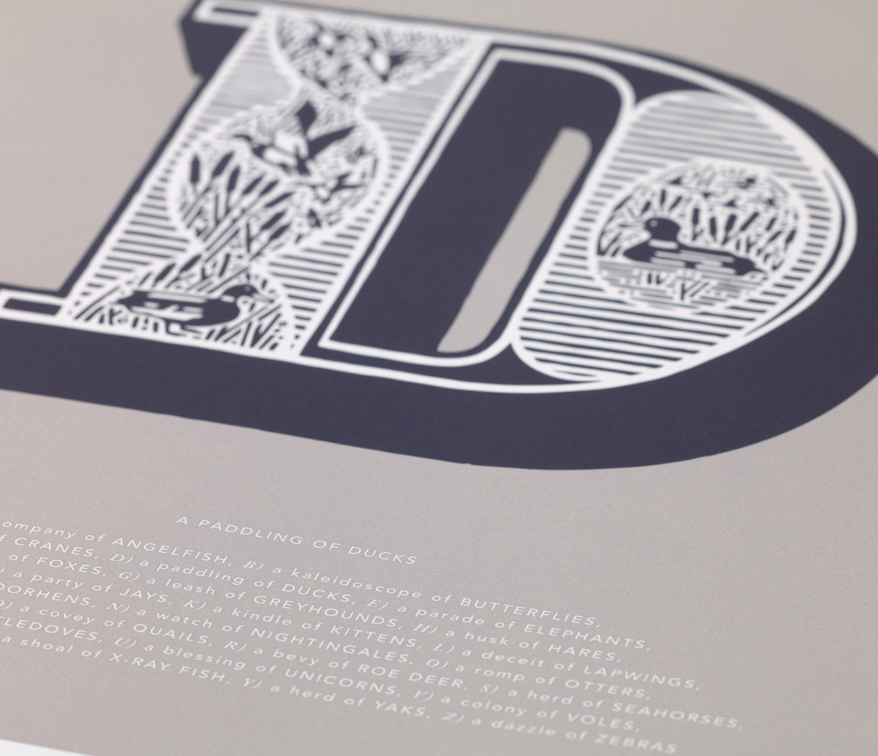 Close up of Illustrated Letter D in putty grey