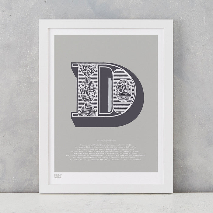 Illustrated Letter D in putty grey, screen printed on recycled card, deliver worldwide