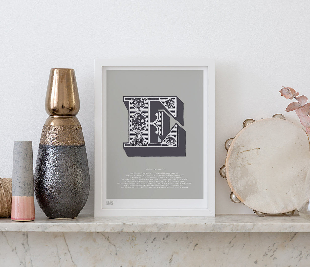 Pictures and Wall Art, Screen Printed Illustrated Letter E design in putty grey