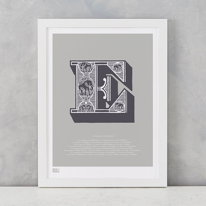 Illustrated Letter E in putty grey, screen printed on recycled card, deliver worldwide