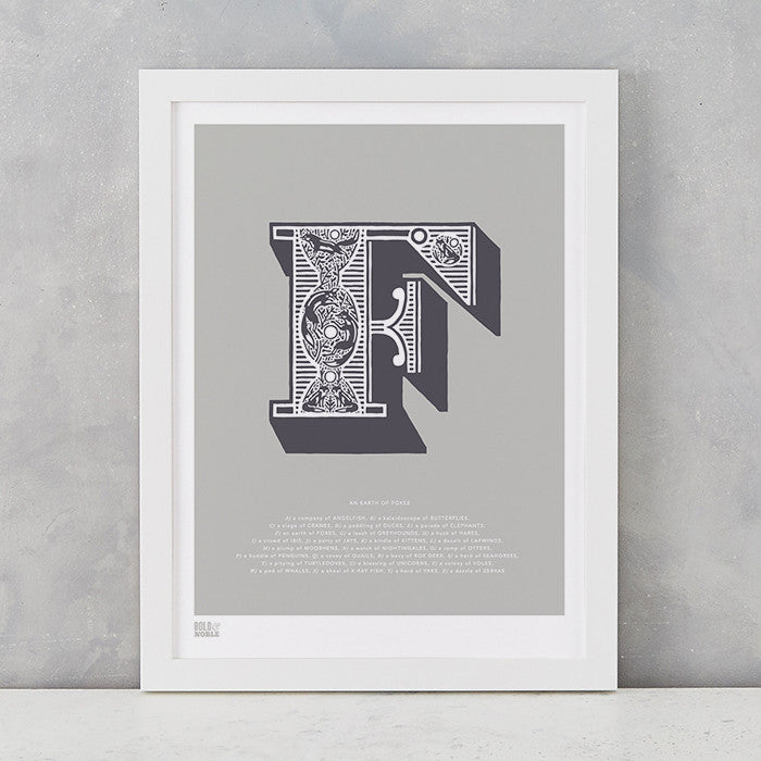 Illustrated Letter F in putty grey, screen printed on recycled card, deliver worldwide