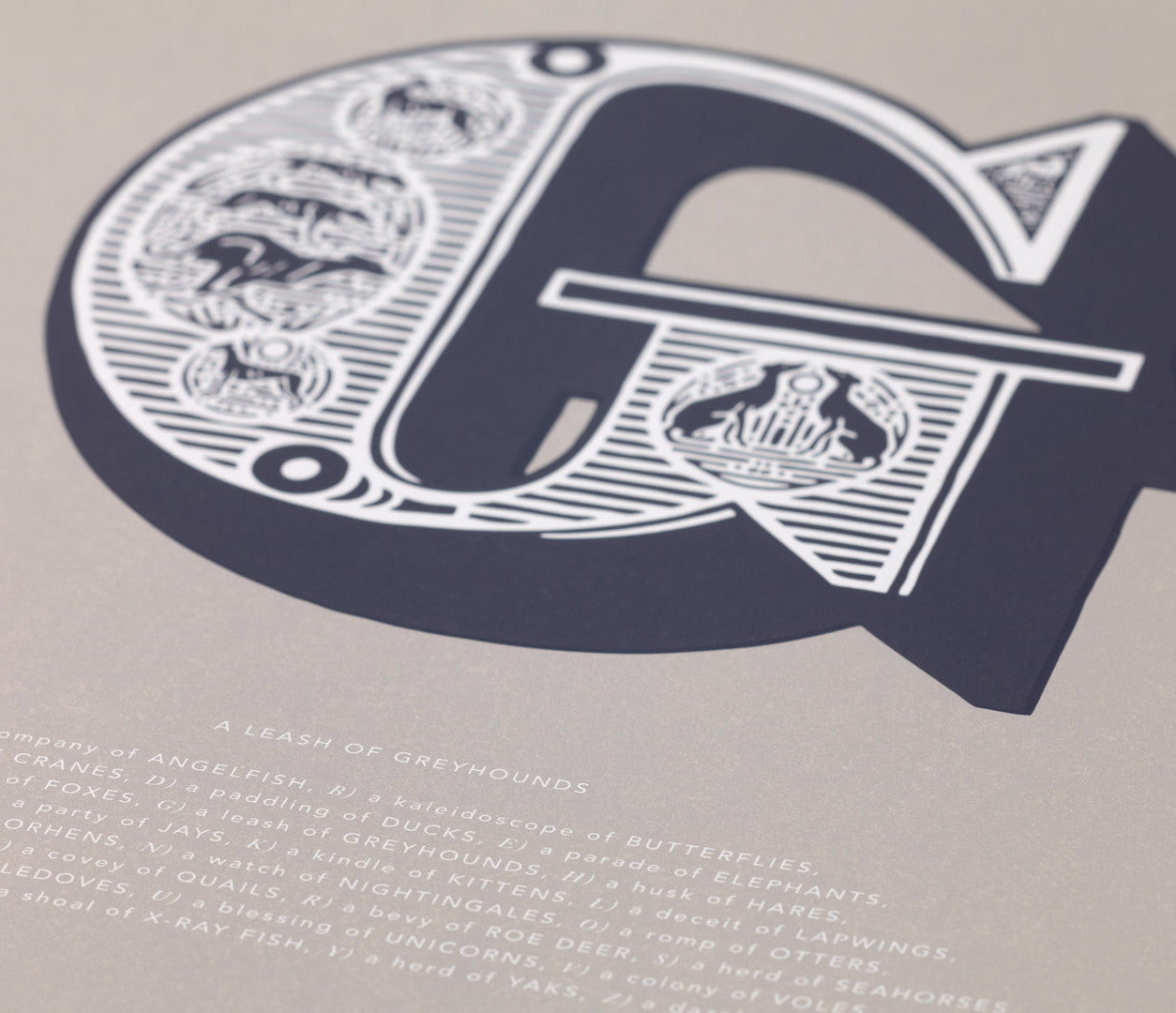 Close up of Illustrated Letter G in putty grey