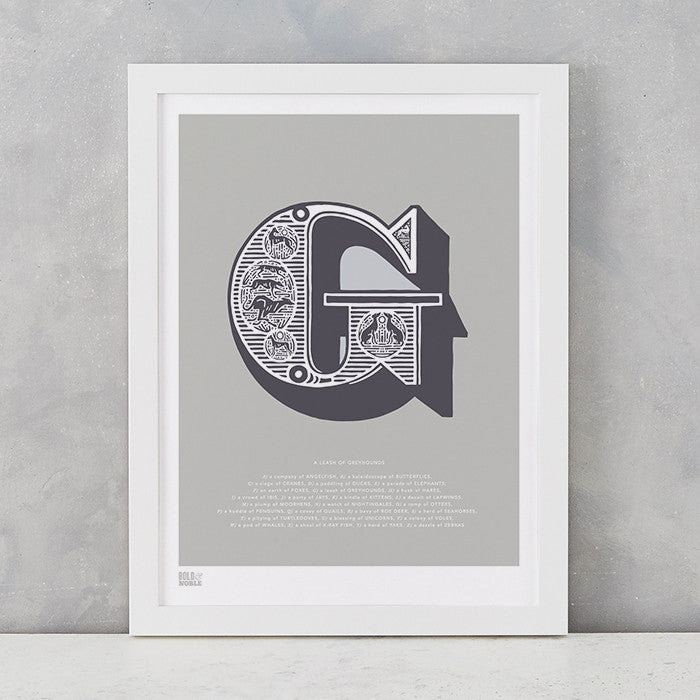 Illustrated Letter G in putty grey, screen printed on recycled card, deliver worldwide