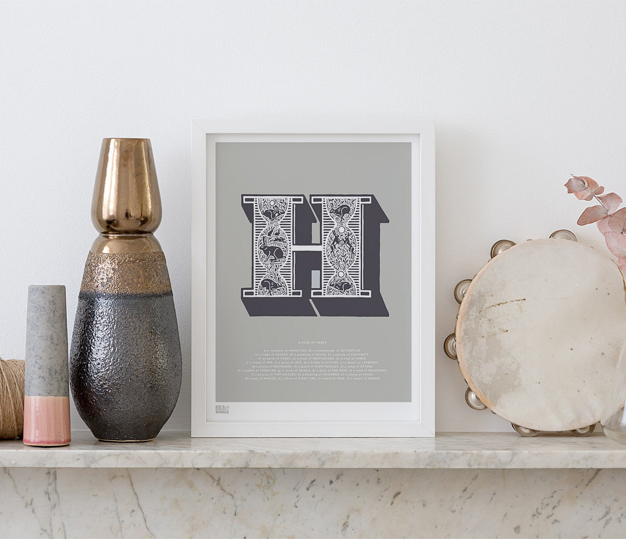 Pictures and Wall Art, Screen Printed Illustrated Letter H design in putty grey