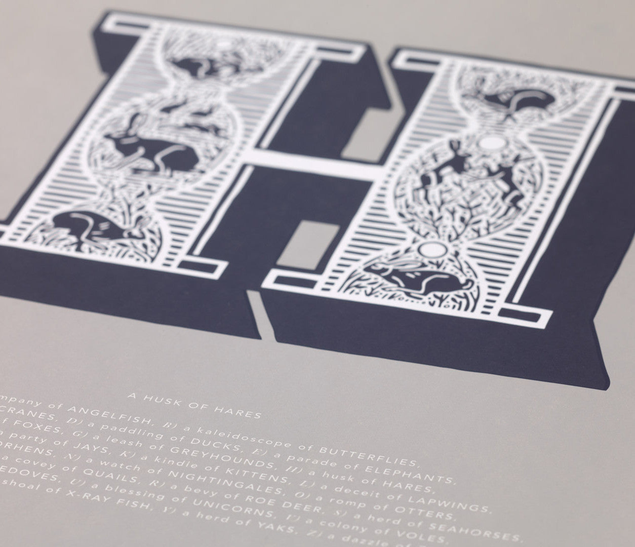 'Letter H' Illustrated Art Print in Putty