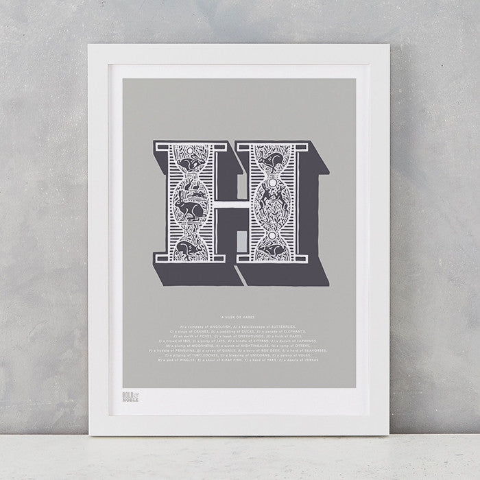 Illustrated Letter H in putty grey, screen printed on recycled card, deliver worldwide