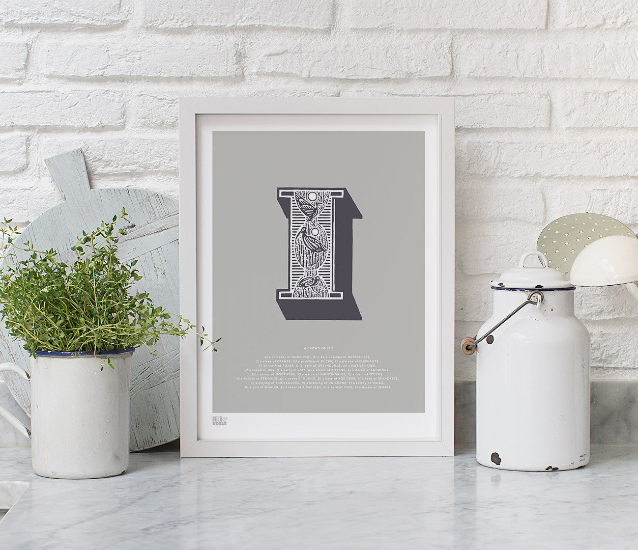 Wall Art Ideas: Economical Screen Prints, Illustrated Letter I printed in putty grey