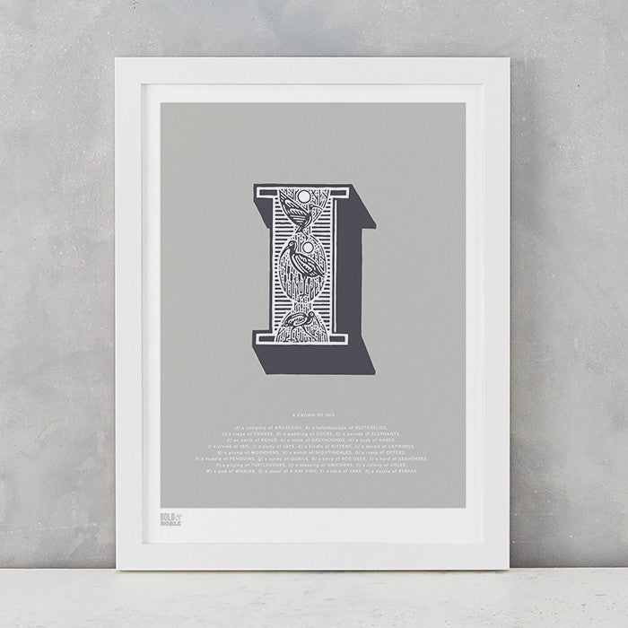 Illustrated Letter I in putty grey, screen printed on recycled card, deliver worldwide