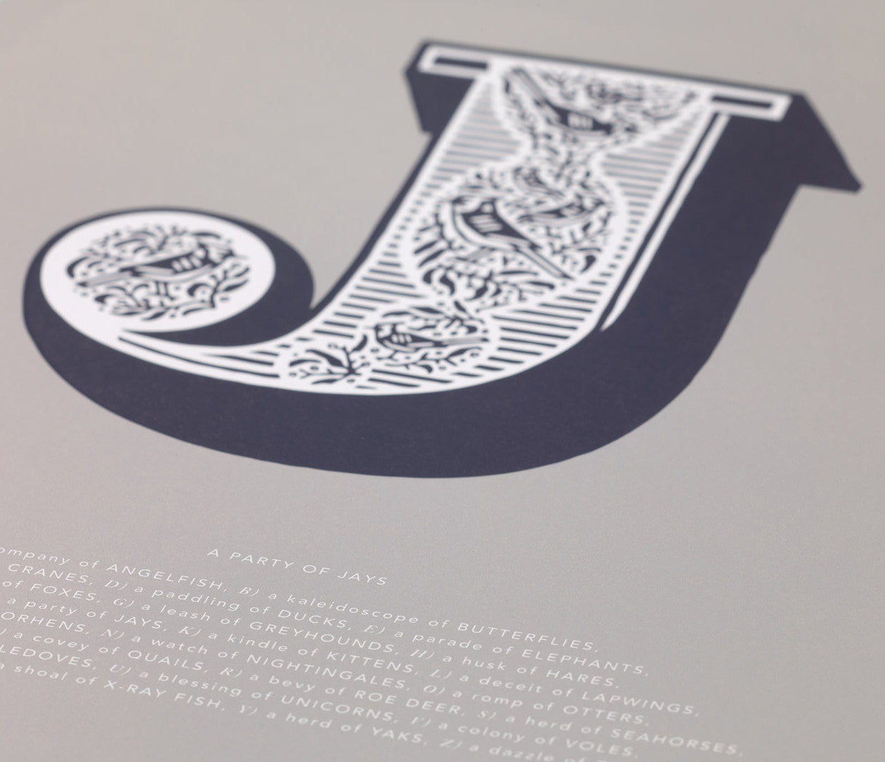 'Letter J' Illustrated Art Print in Putty