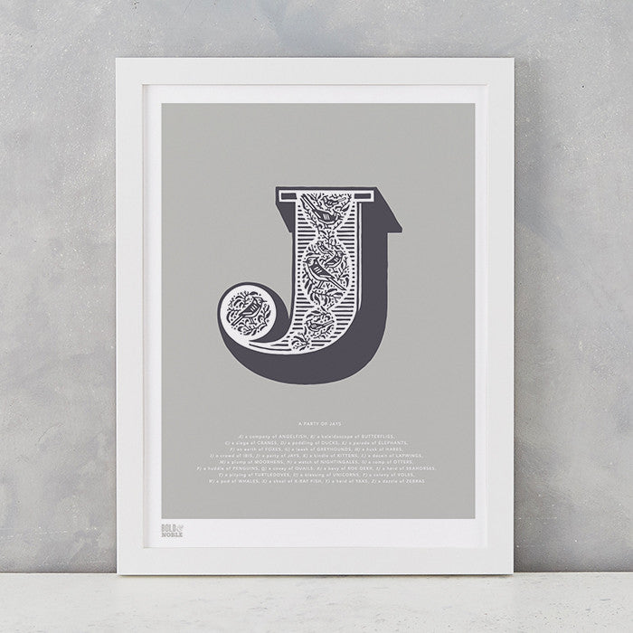 Illustrated Letter J in putty grey, screen printed on recycled card, deliver worldwide