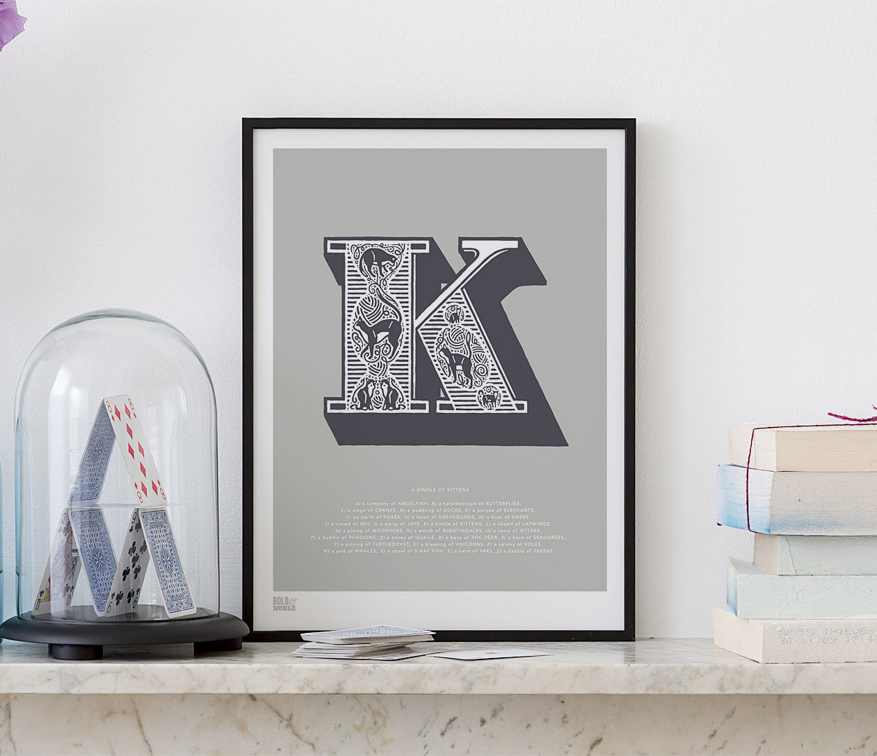 Pictures and Wall Art, Screen Printed Illustrated Letter K design in putty grey
