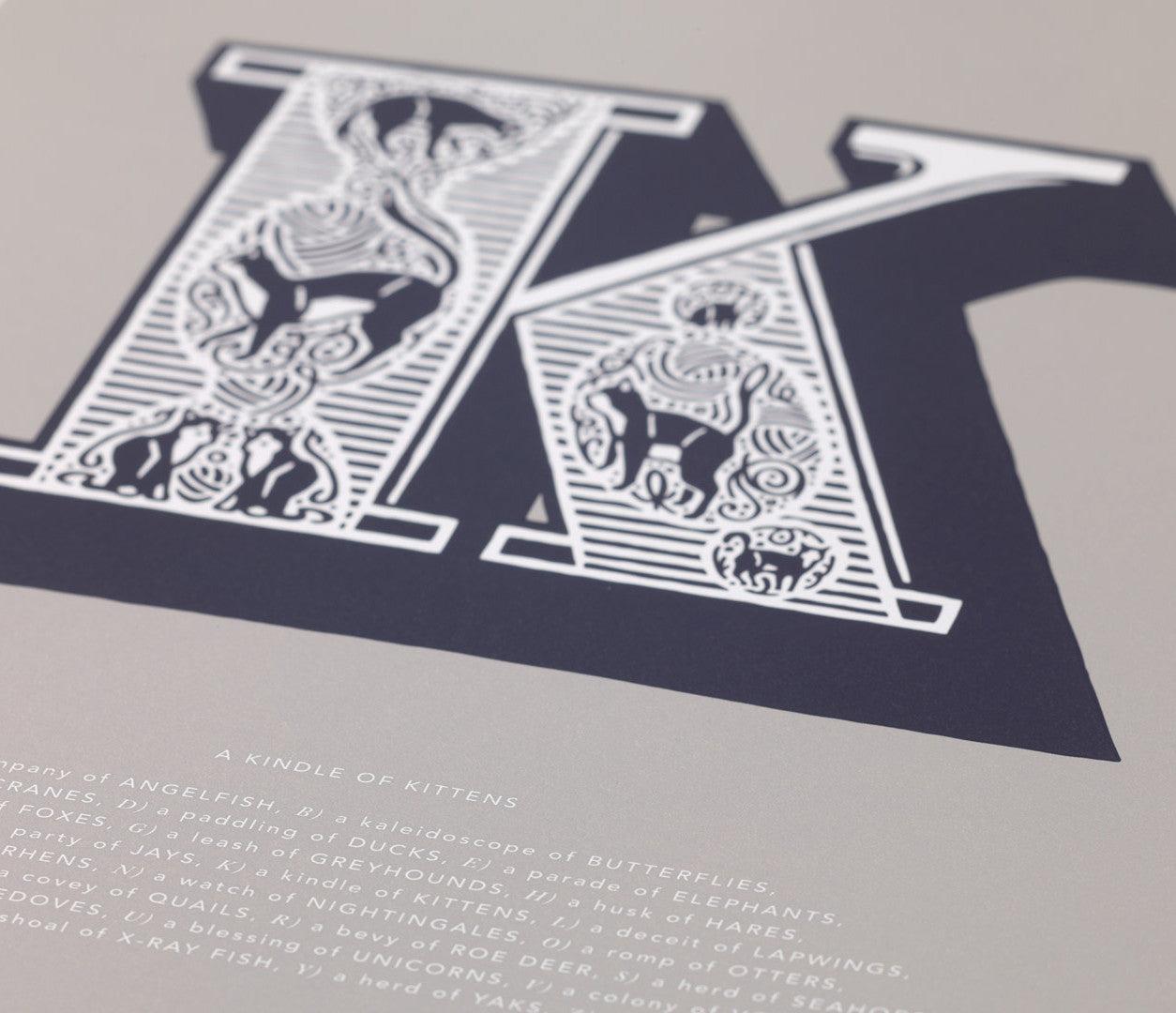 Close up of Illustrated Letter K in putty grey