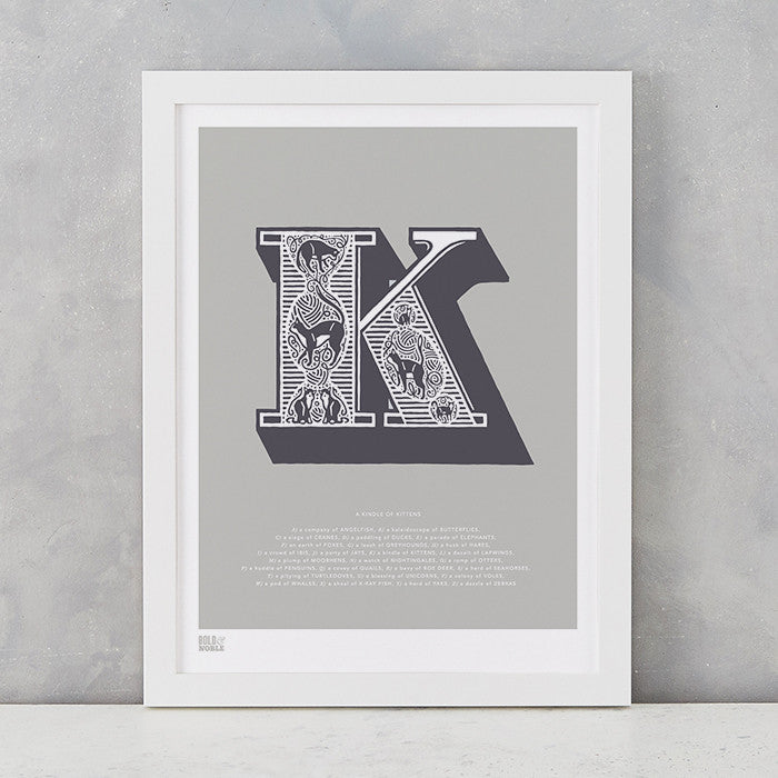 Illustrated Letter K in putty grey, screen printed on recycled card, deliver worldwide