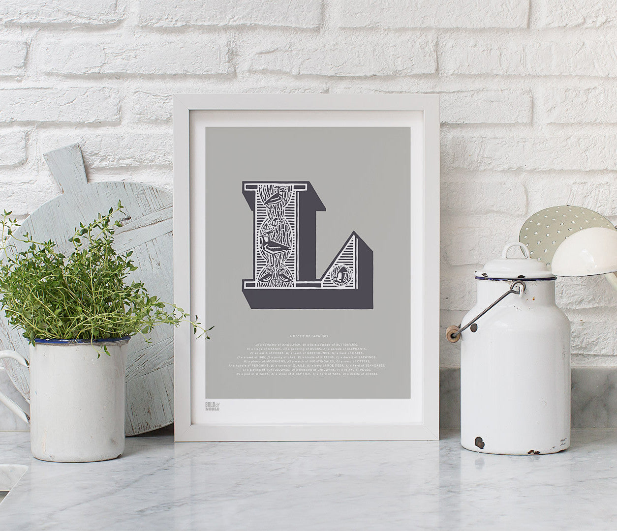 Pictures and Wall Art, Screen Printed Illustrated Letter L design in putty grey
