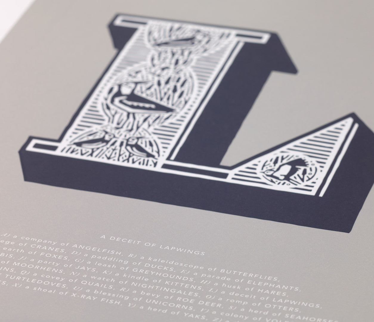 Close up of Illustrated Letter L in putty grey