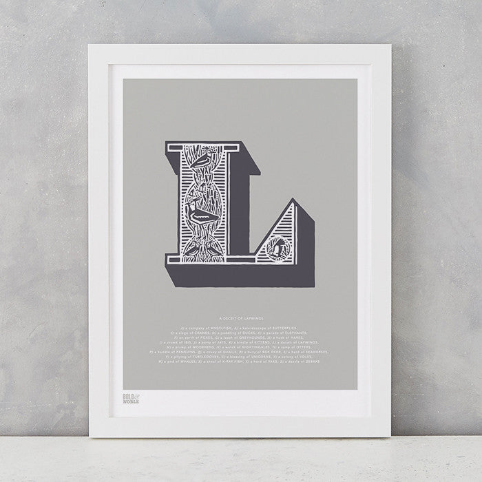 Illustrated Letter L in putty grey, screen printed on recycled card, deliver worldwide