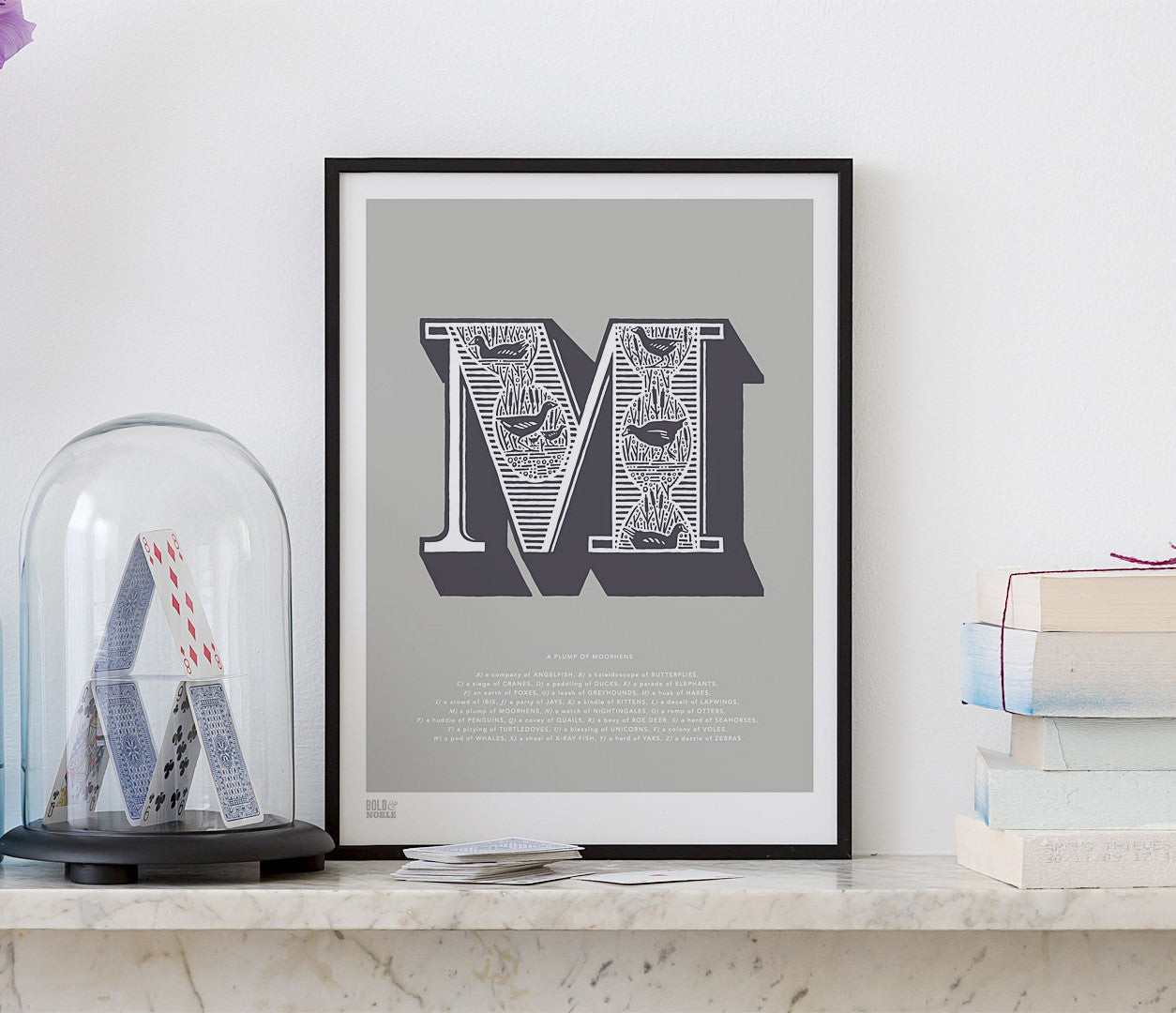 Pictures and Wall Art, Screen Printed Illustrated Letter M design in putty grey