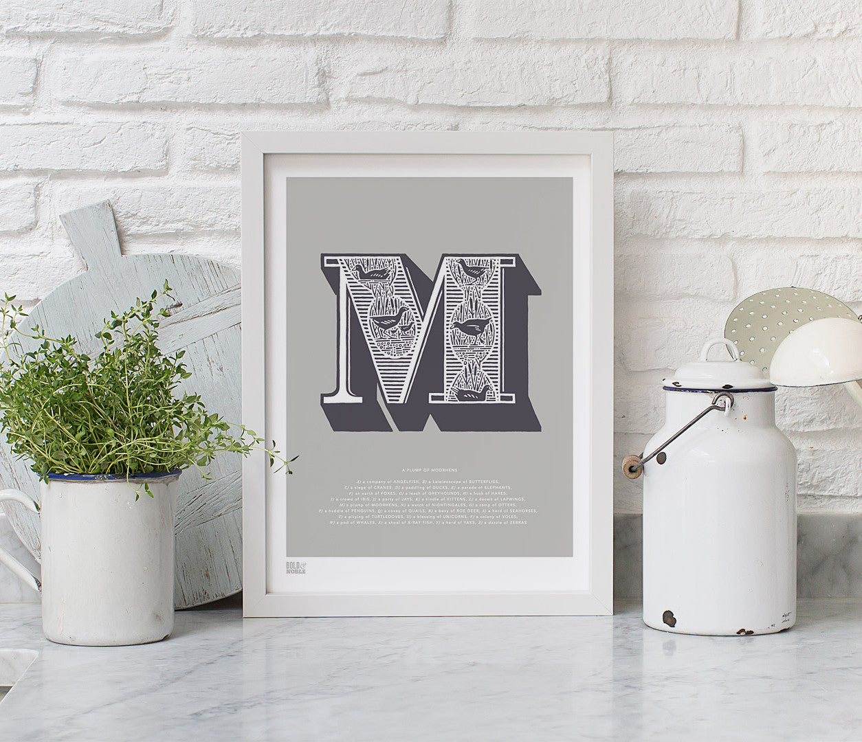 Wall Art Ideas: Economical Screen Prints, Illustrated Letter M printed in putty grey