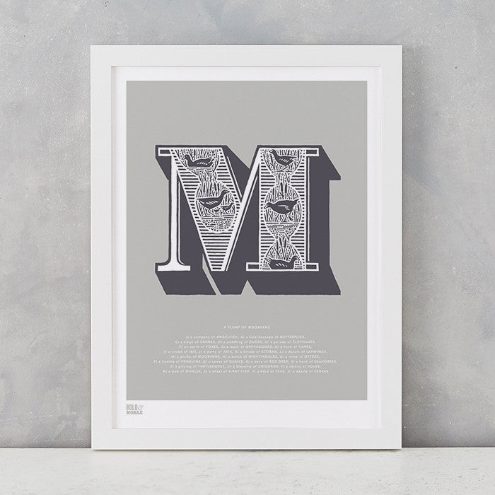 Illustrated Letter M in putty grey, screen printed on recycled card, deliver worldwide