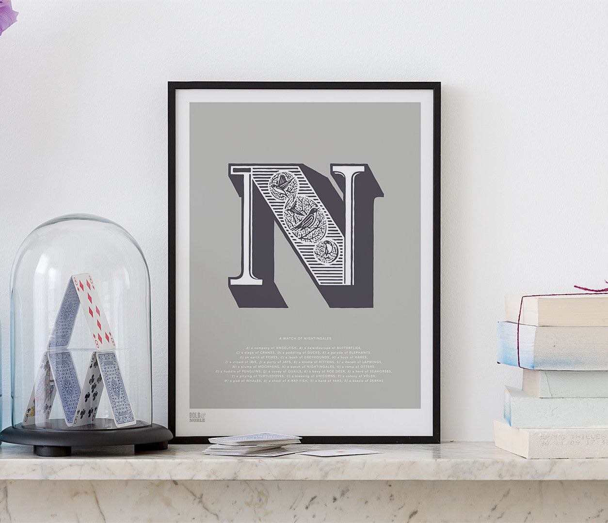 'Letter N' Illustrated Art Print in Putty