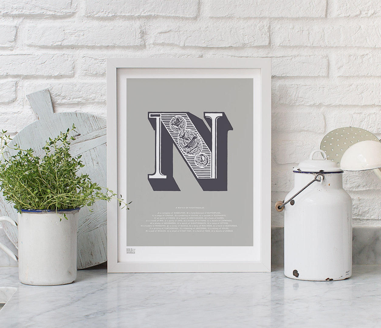 Pictures and Wall Art, Screen Printed Illustrated Letter N design in putty grey