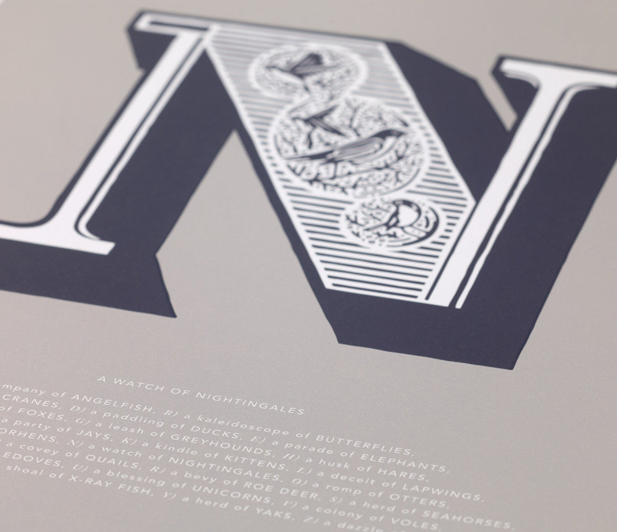 Close up of Illustrated Letter N in putty grey
