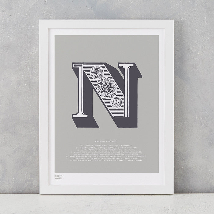 Illustrated Letter N in putty grey, screen printed on recycled card, deliver worldwide
