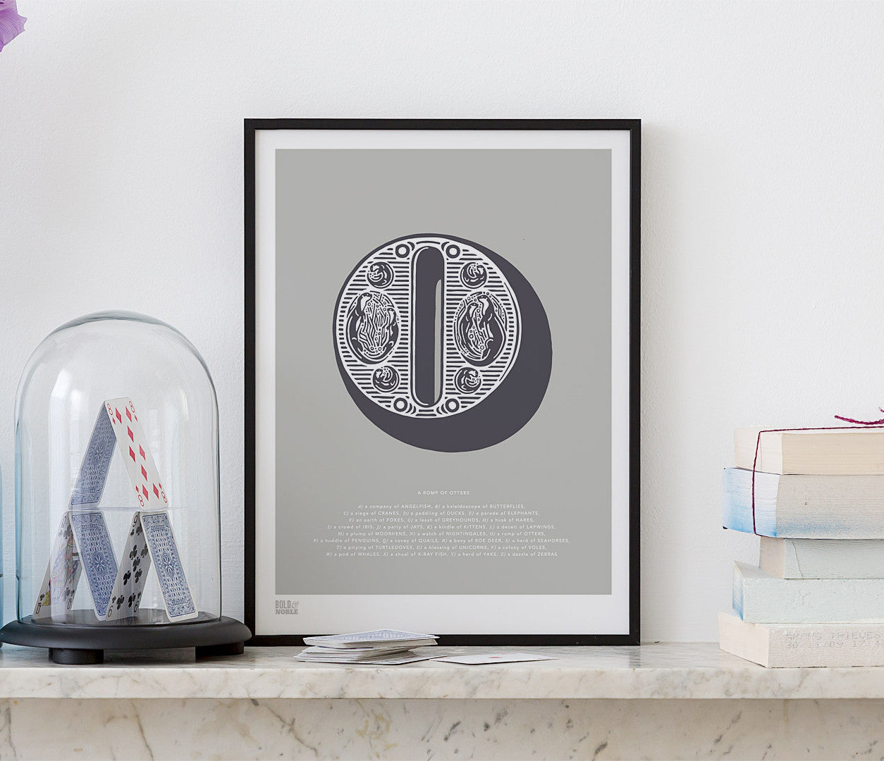 Pictures and Wall Art, Screen Printed Illustrated Letter O design in putty grey