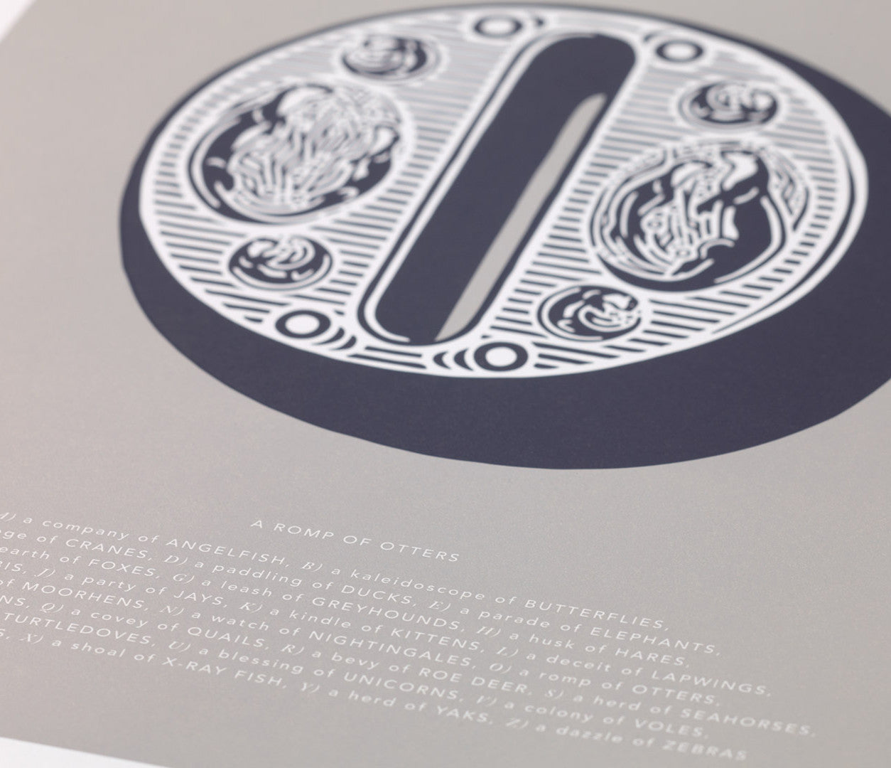 Close up of Illustrated Letter O in putty grey