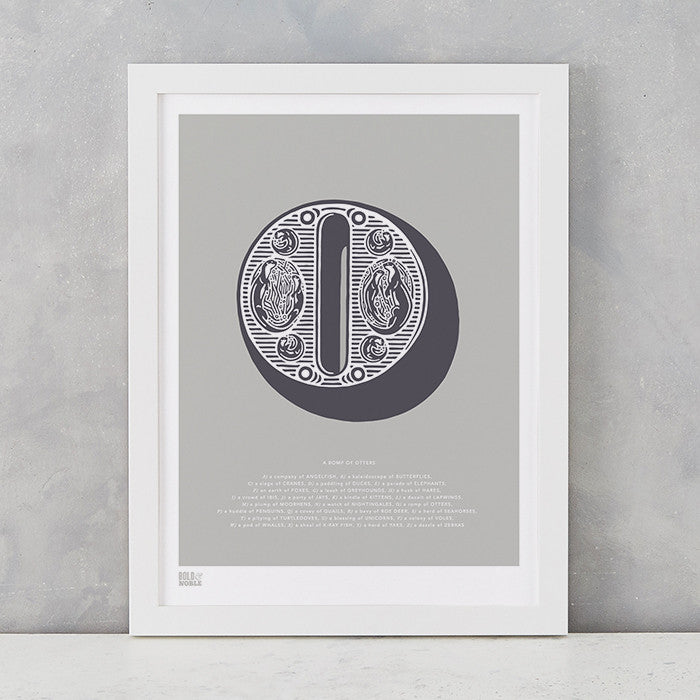 Illustrated Letter O in putty grey, screen printed on recycled card, deliver worldwide